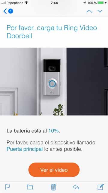 ring video doorbell 2 batería baja