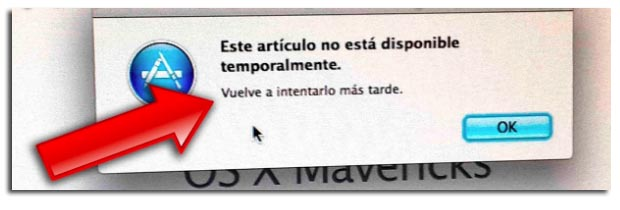 no disponible temporalmente Mac